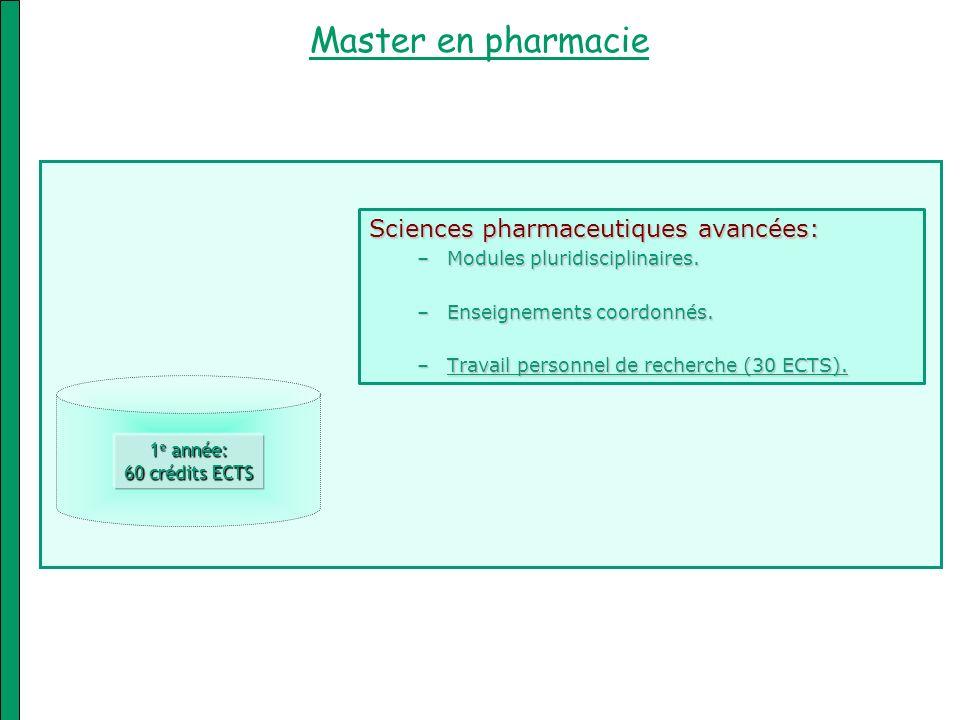 Master en pharmacie Sciences pharmaceutiques avancées: