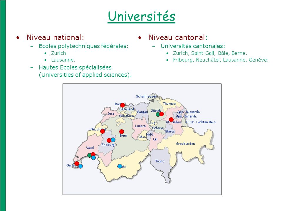 Universités Niveau national: Niveau cantonal: