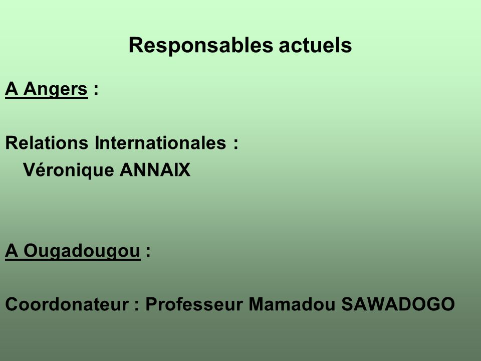 Responsables actuels A Angers : Relations Internationales :