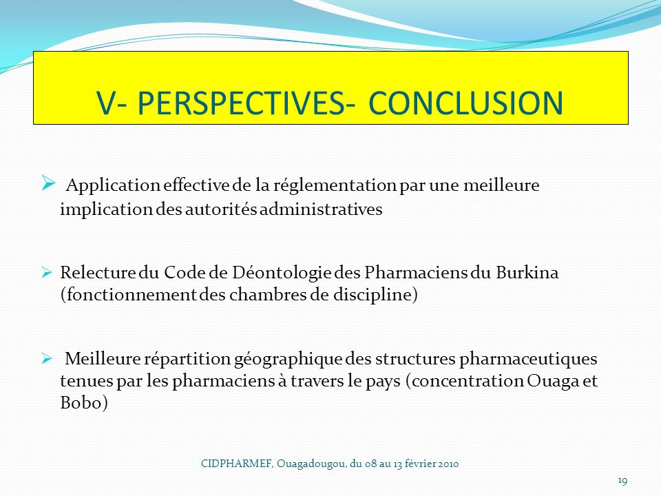 V- PERSPECTIVES- CONCLUSION