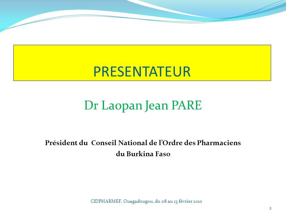 Président du Conseil National de l'Ordre des Pharmaciens