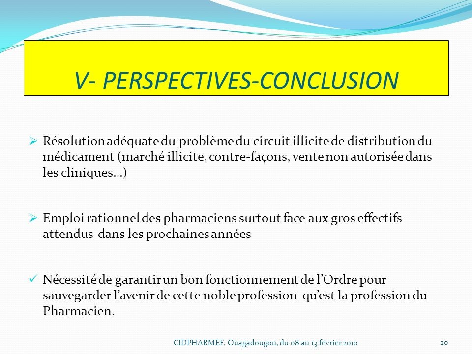 V- PERSPECTIVES-CONCLUSION