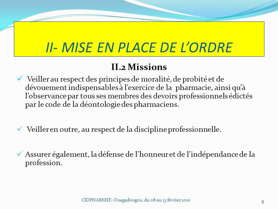 II- MISE EN PLACE DE L'ORDRE