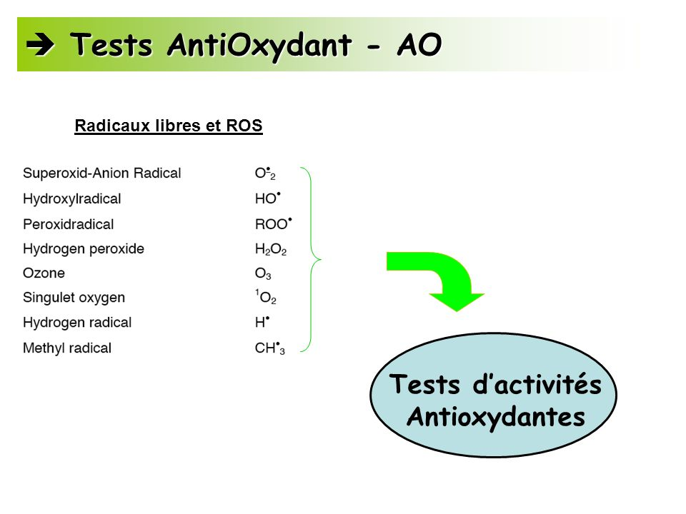  Tests AntiOxydant - AO