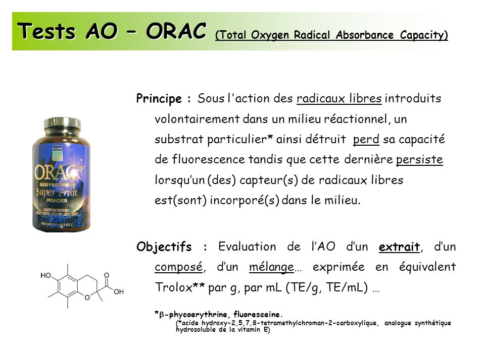 Tests AO – ORAC (Total Oxygen Radical Absorbance Capacity)