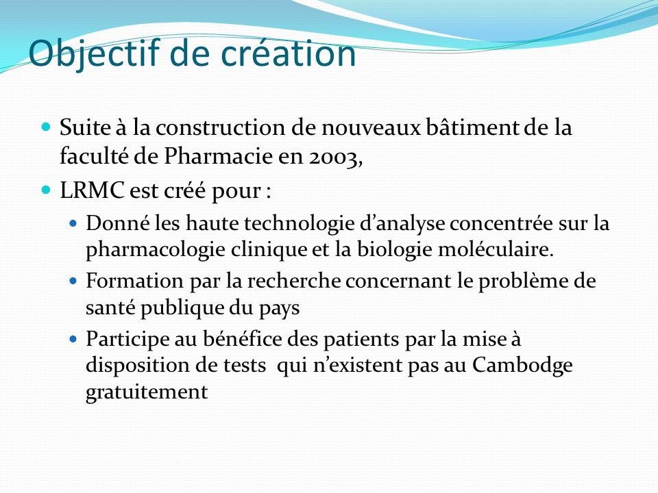 Objectif de création Suite à la construction de nouveaux bâtiment de la faculté de Pharmacie en 2003,