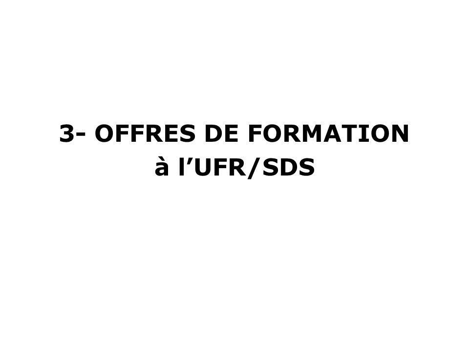 3- OFFRES DE FORMATION à l'UFR/SDS