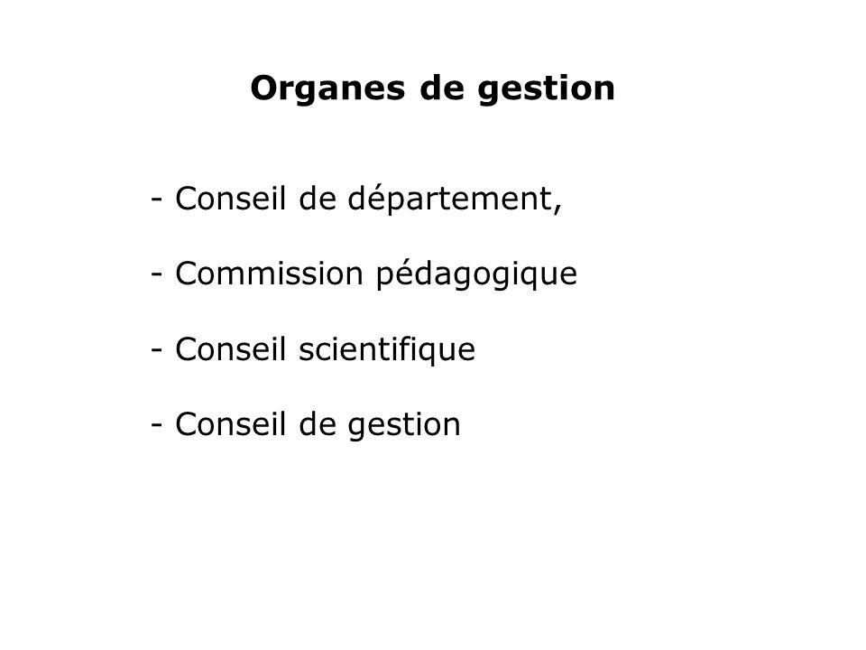 Organes de gestion - Conseil de département, - Commission pédagogique - Conseil scientifique - Conseil de gestion