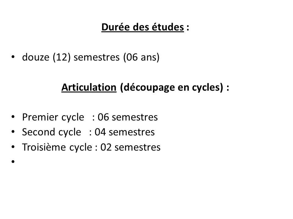 Articulation (découpage en cycles) :