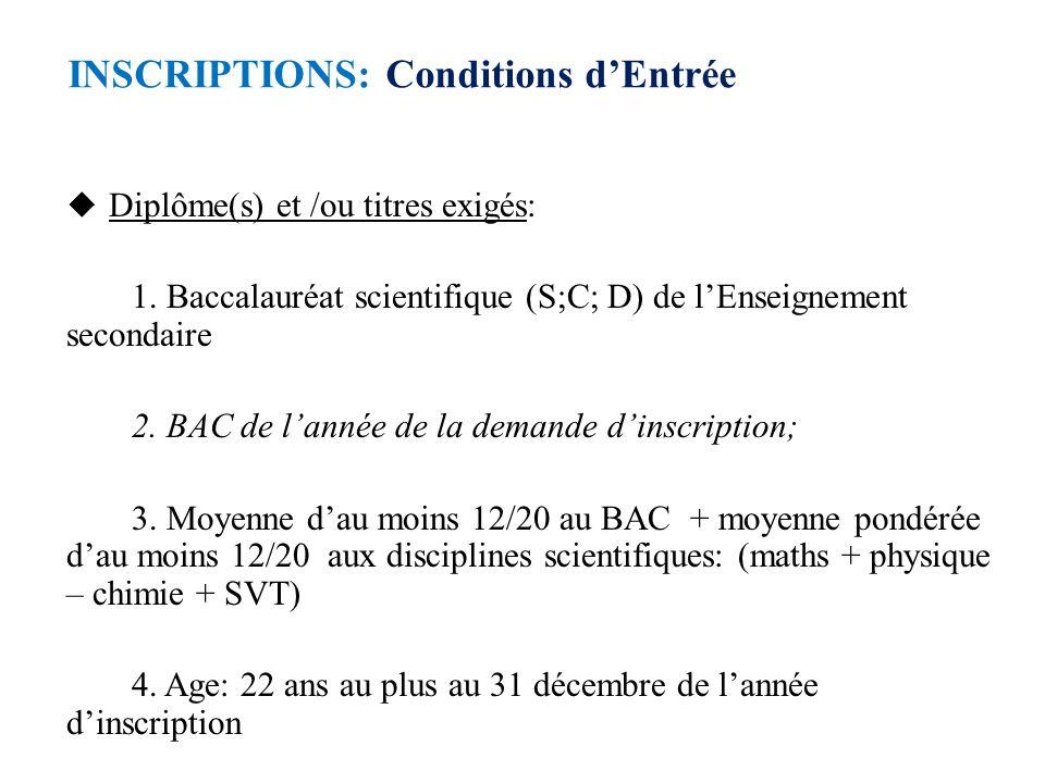 INSCRIPTIONS: Conditions d'Entrée