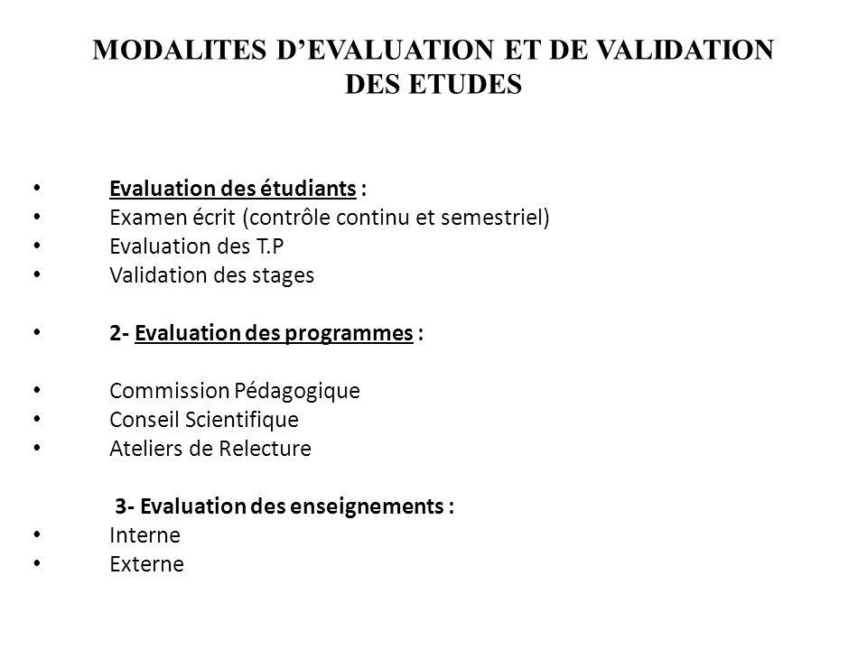 MODALITES D'EVALUATION ET DE VALIDATION DES ETUDES