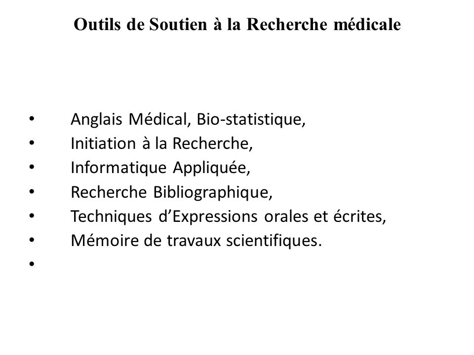 Outils de Soutien à la Recherche médicale