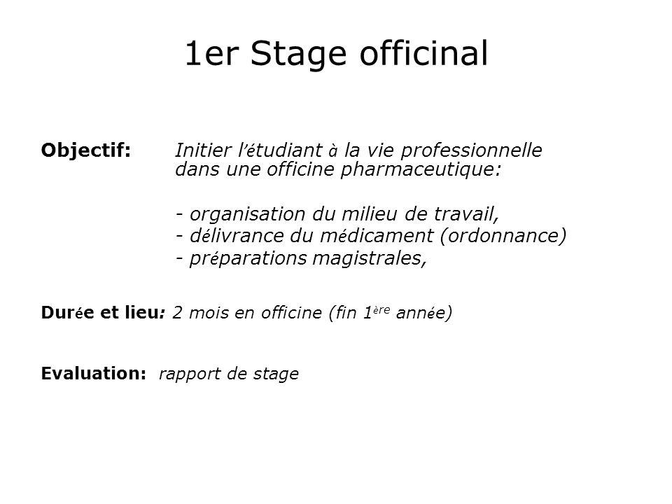 1er Stage officinal Objectif: Initier l'étudiant à la vie professionnelle dans une officine pharmaceutique: