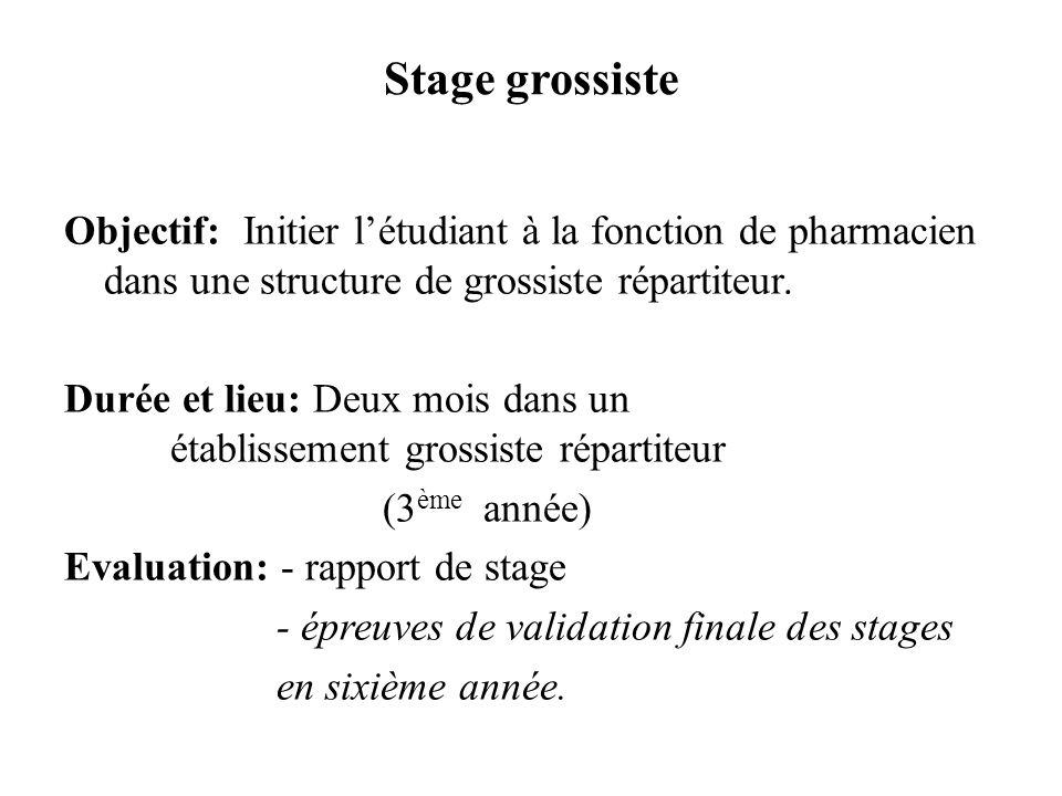 Stage grossiste Objectif: Initier l'étudiant à la fonction de pharmacien dans une structure de grossiste répartiteur.