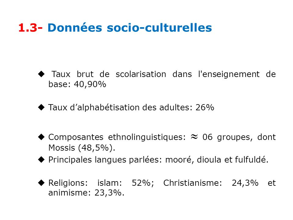 1.3- Données socio-culturelles