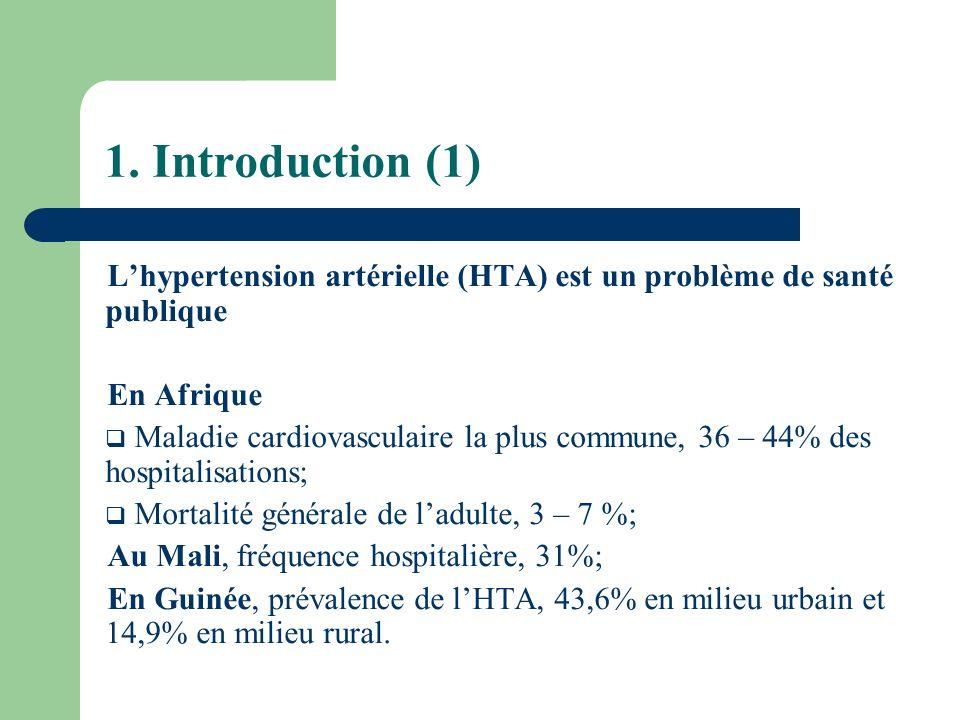 1. Introduction (1) L'hypertension artérielle (HTA) est un problème de santé publique. En Afrique.