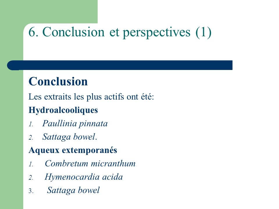 6. Conclusion et perspectives (1)
