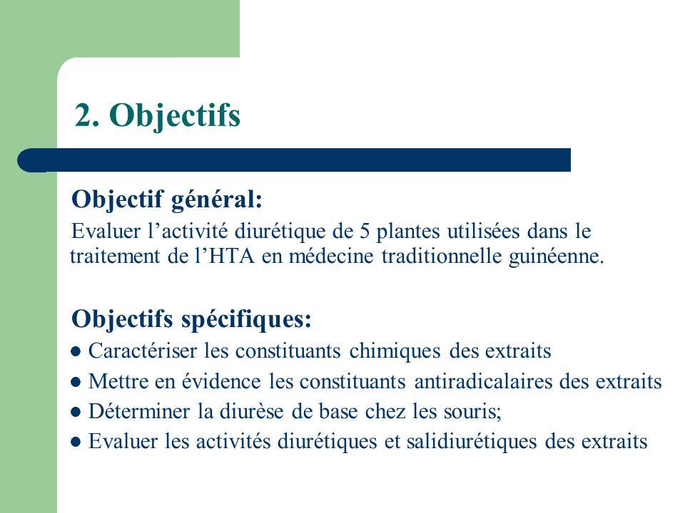 2. Objectifs Objectif général: Objectifs spécifiques: