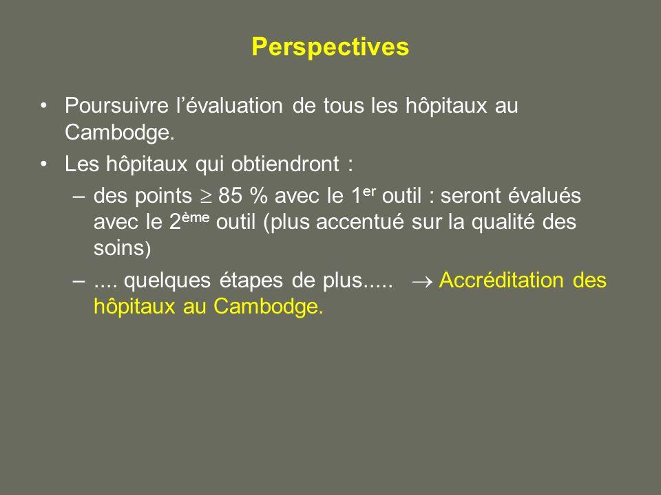 Perspectives Poursuivre l'évaluation de tous les hôpitaux au Cambodge.