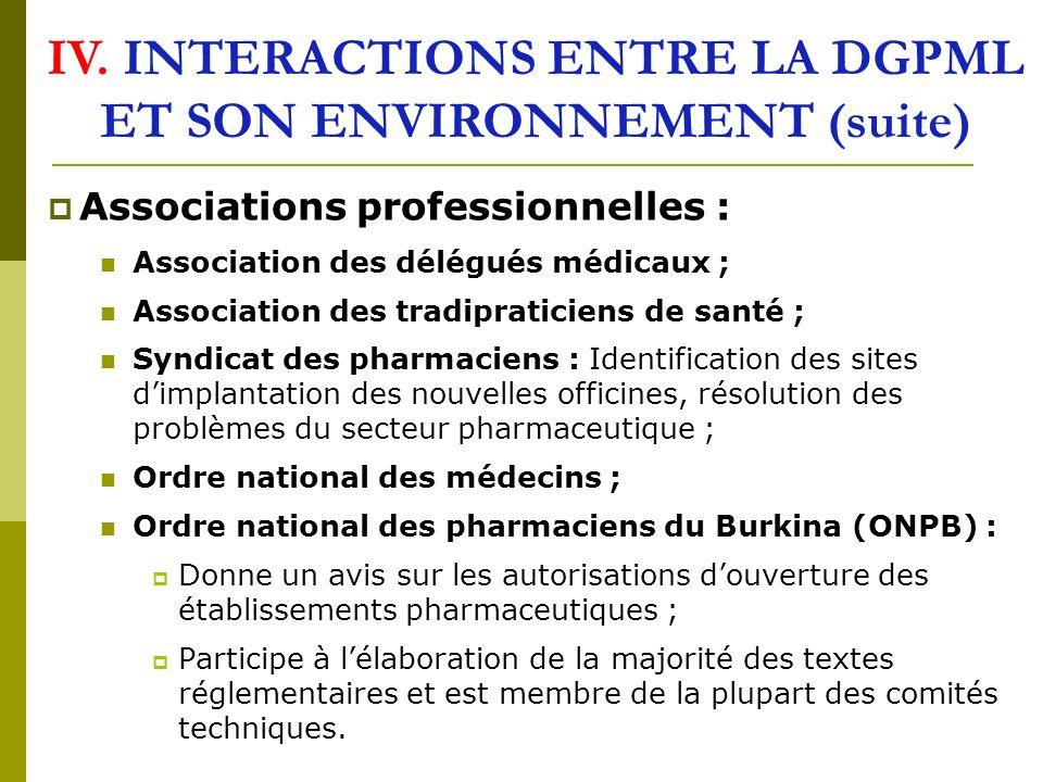 IV. INTERACTIONS ENTRE LA DGPML ET SON ENVIRONNEMENT (suite)