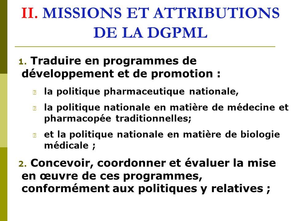 II. MISSIONS ET ATTRIBUTIONS DE LA DGPML