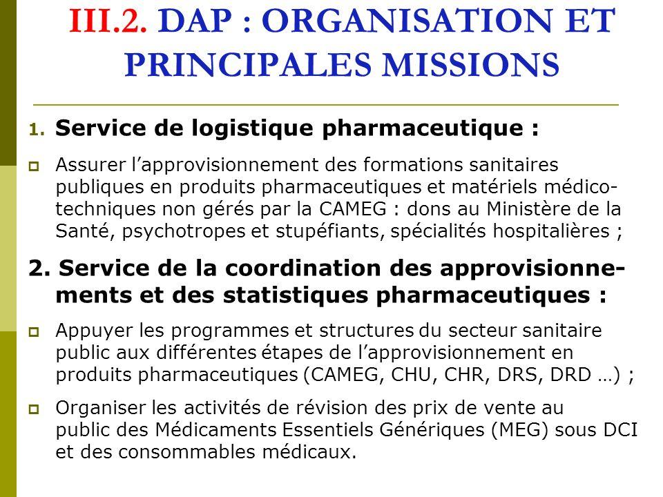 III.2. DAP : ORGANISATION ET PRINCIPALES MISSIONS