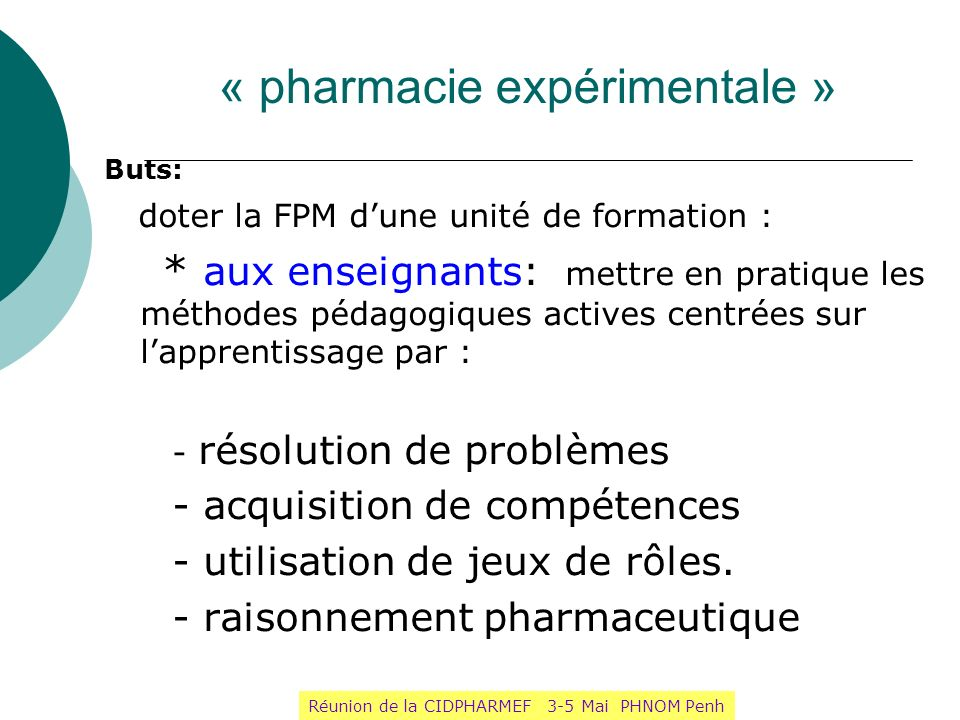 « pharmacie expérimentale »