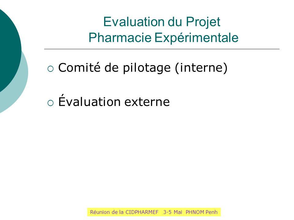 Evaluation du Projet Pharmacie Expérimentale