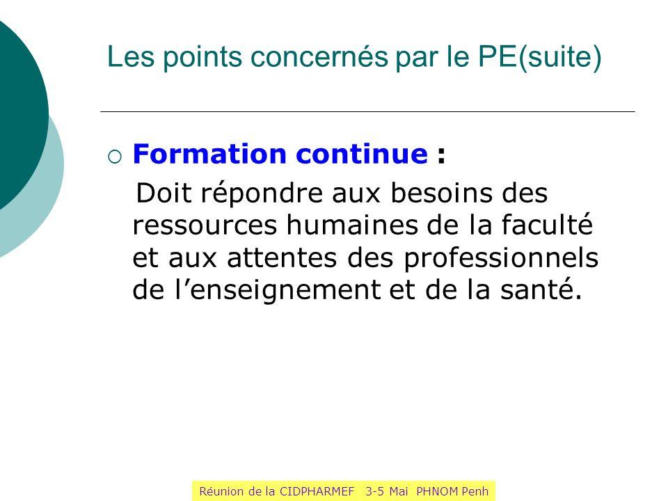 Les points concernés par le PE(suite)