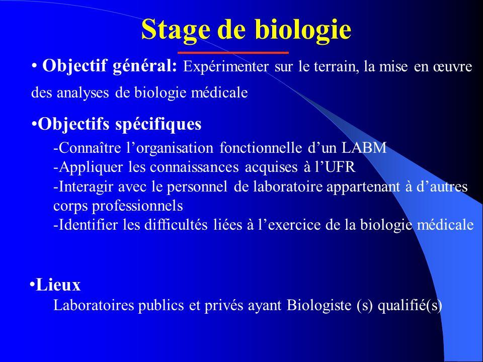 Stage de biologie Objectif général: Expérimenter sur le terrain, la mise en œuvre des analyses de biologie médicale.