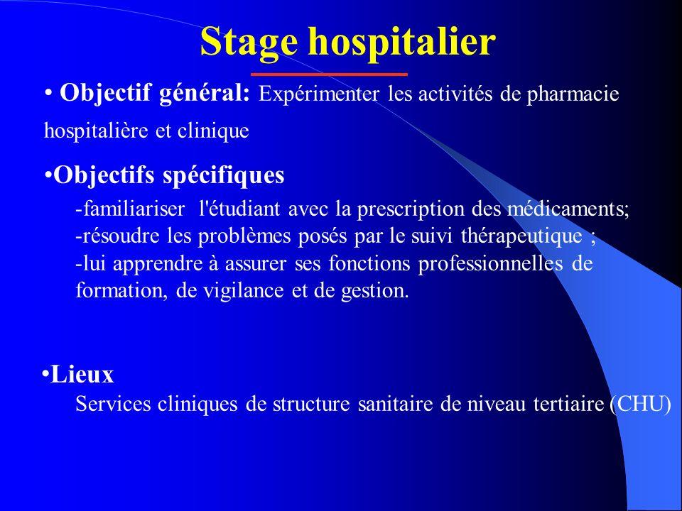 Stage hospitalier Objectif général: Expérimenter les activités de pharmacie hospitalière et clinique.
