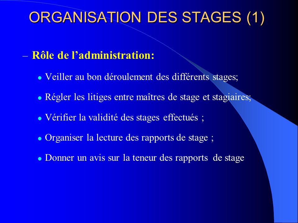 ORGANISATION DES STAGES (1)