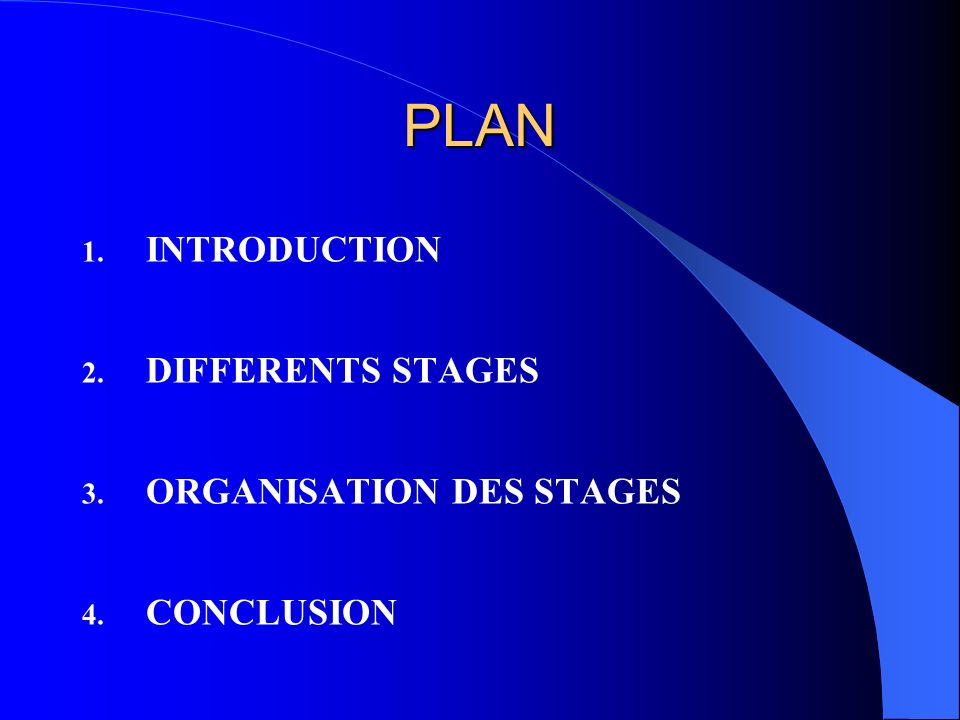 PLAN INTRODUCTION DIFFERENTS STAGES ORGANISATION DES STAGES CONCLUSION