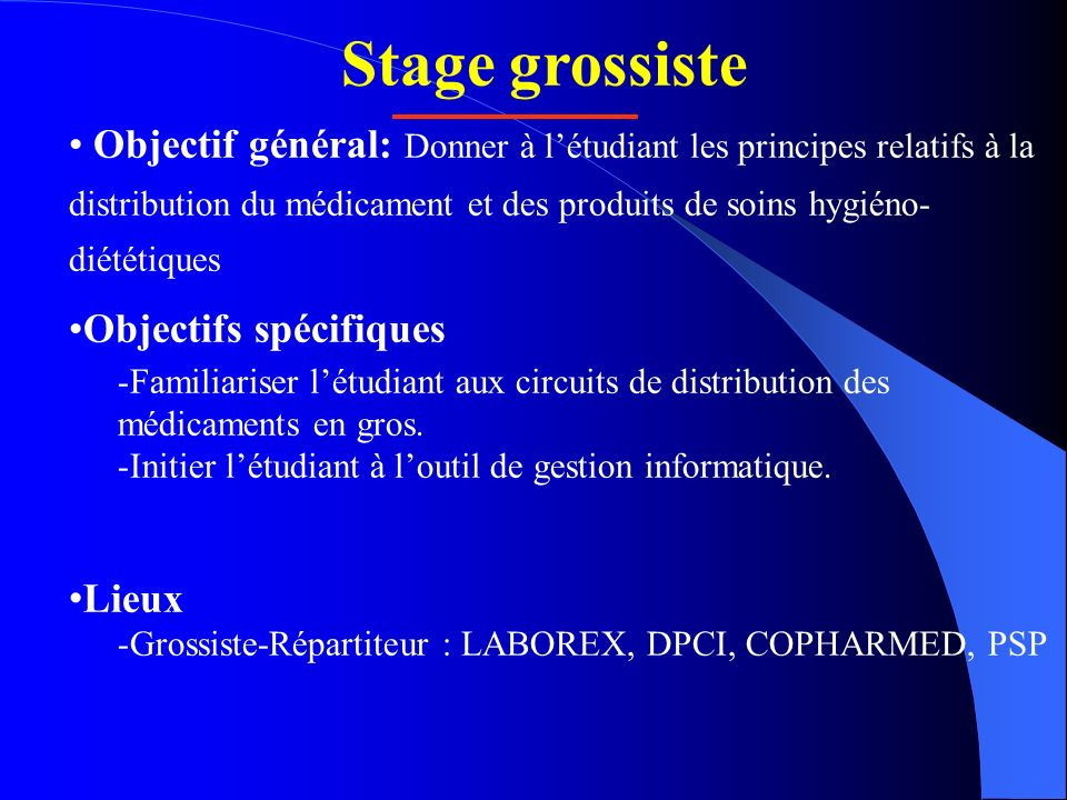Stage grossiste