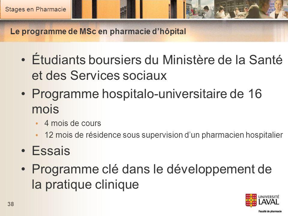Le programme de MSc en pharmacie d'hôpital