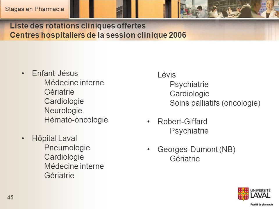 Liste des rotations cliniques offertes Centres hospitaliers de la session clinique 2006