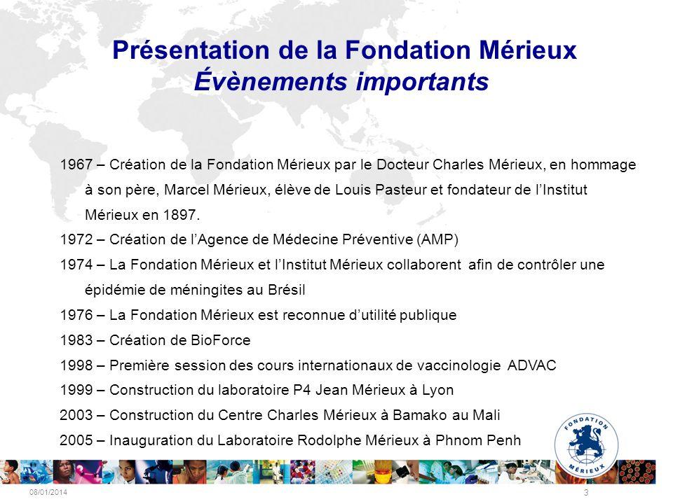 Présentation de la Fondation Mérieux Évènements importants