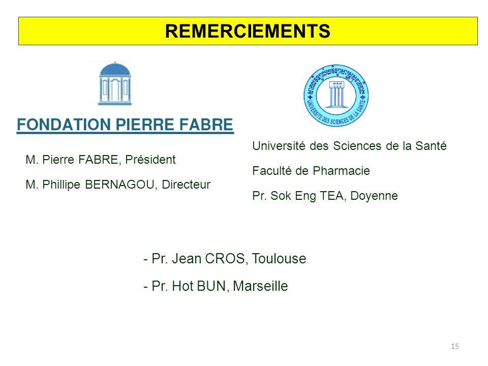 REMERCIEMENTS Pr. Jean CROS, Toulouse Pr. Hot BUN, Marseille