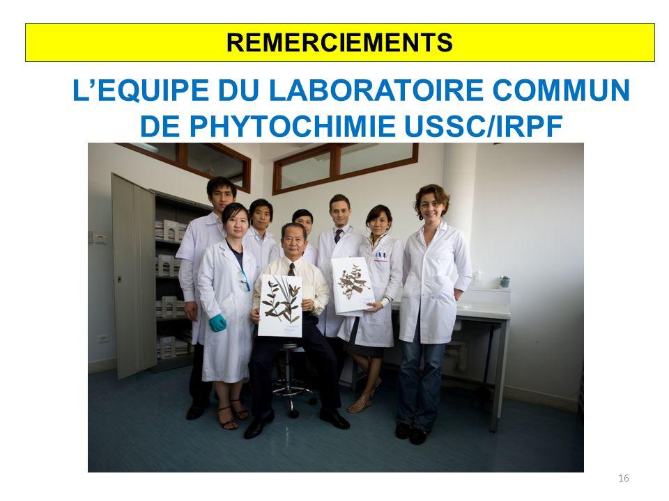 L'EQUIPE DU LABORATOIRE COMMUN DE PHYTOCHIMIE USSC/IRPF