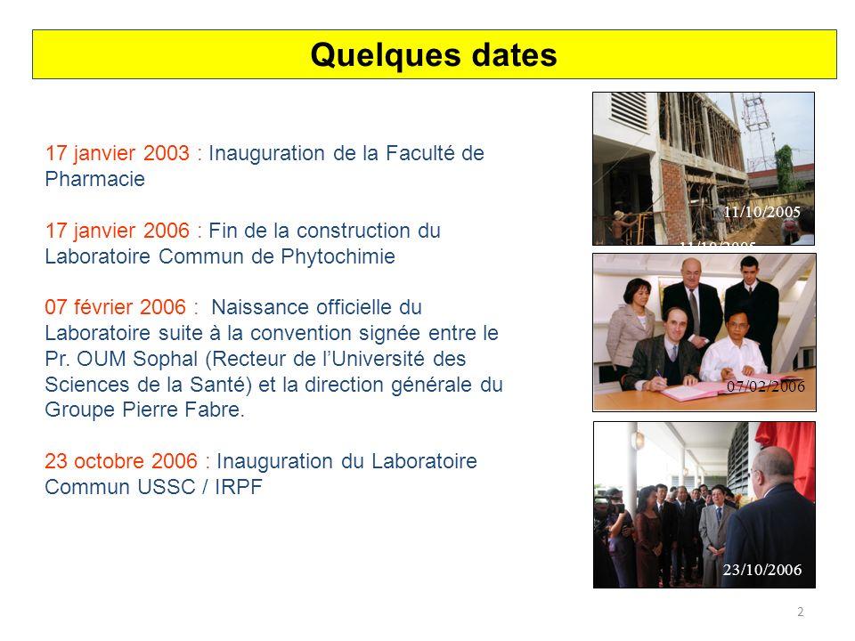 Quelques dates 17 janvier 2003 : Inauguration de la Faculté de Pharmacie.