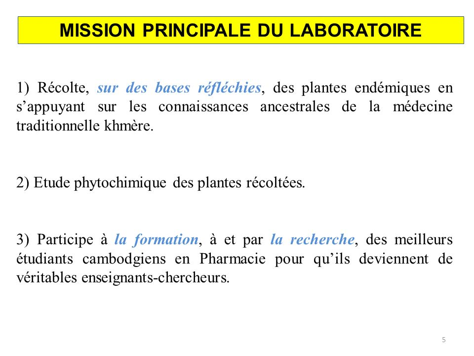 MISSION PRINCIPALE DU LABORATOIRE