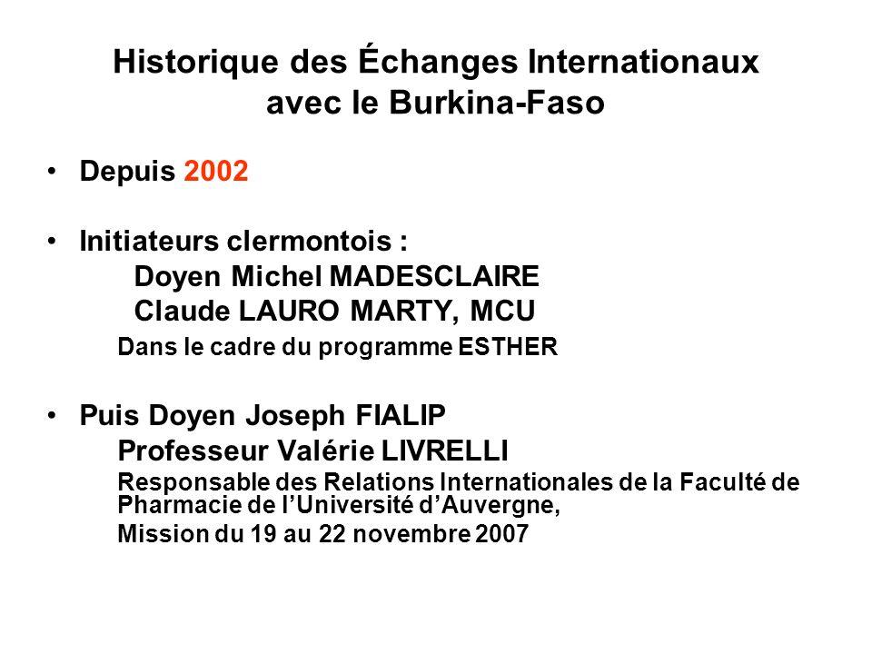 Historique des Échanges Internationaux avec le Burkina-Faso