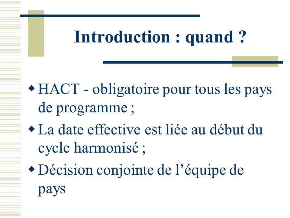 Introduction : quand HACT - obligatoire pour tous les pays de programme ; La date effective est liée au début du cycle harmonisé ;
