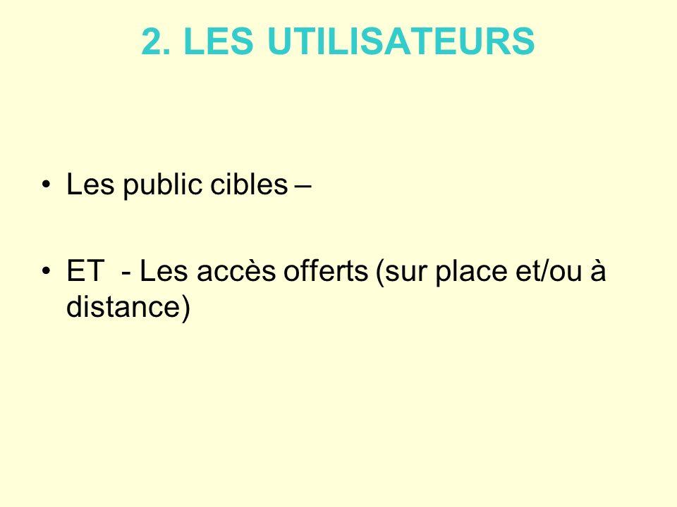 2. LES UTILISATEURS Les public cibles –