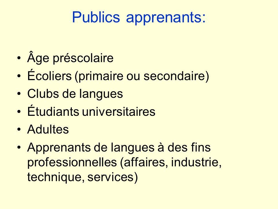 Publics apprenants: Âge préscolaire Écoliers (primaire ou secondaire)