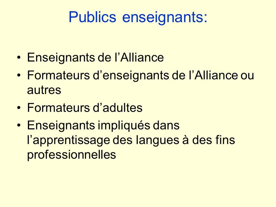 Publics enseignants: Enseignants de l'Alliance