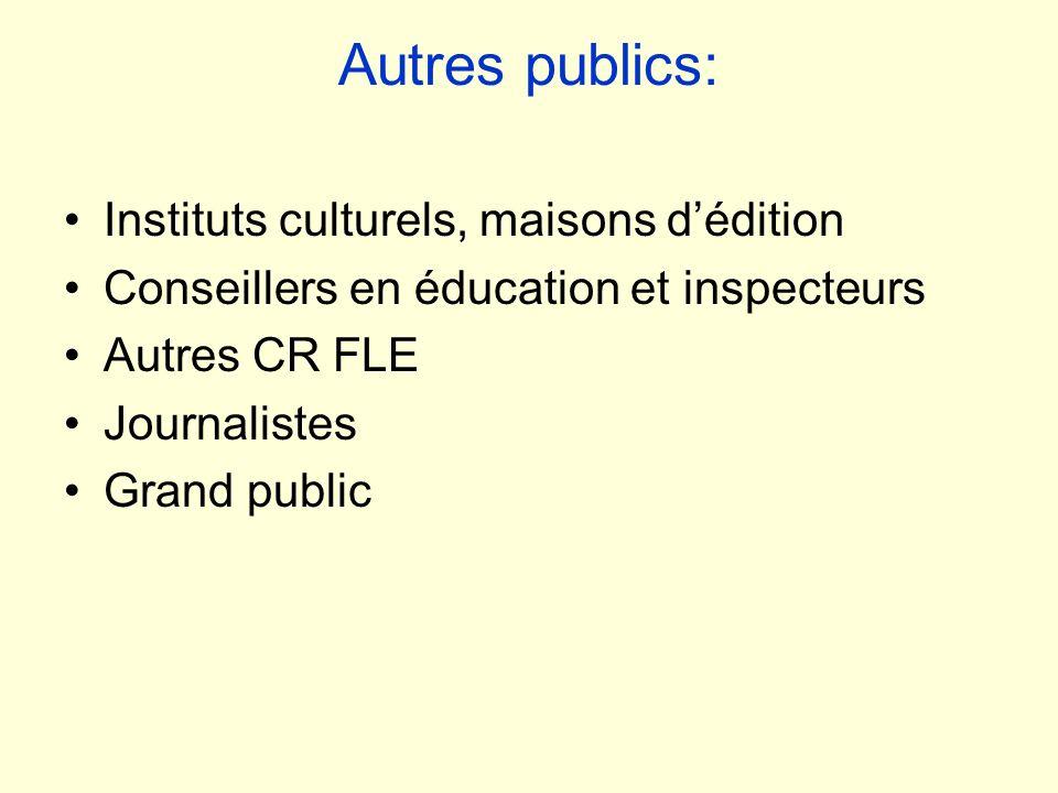 Autres publics: Instituts culturels, maisons d'édition