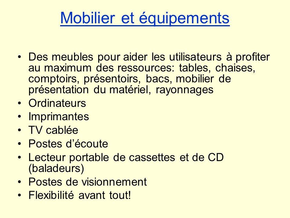 Mobilier et équipements