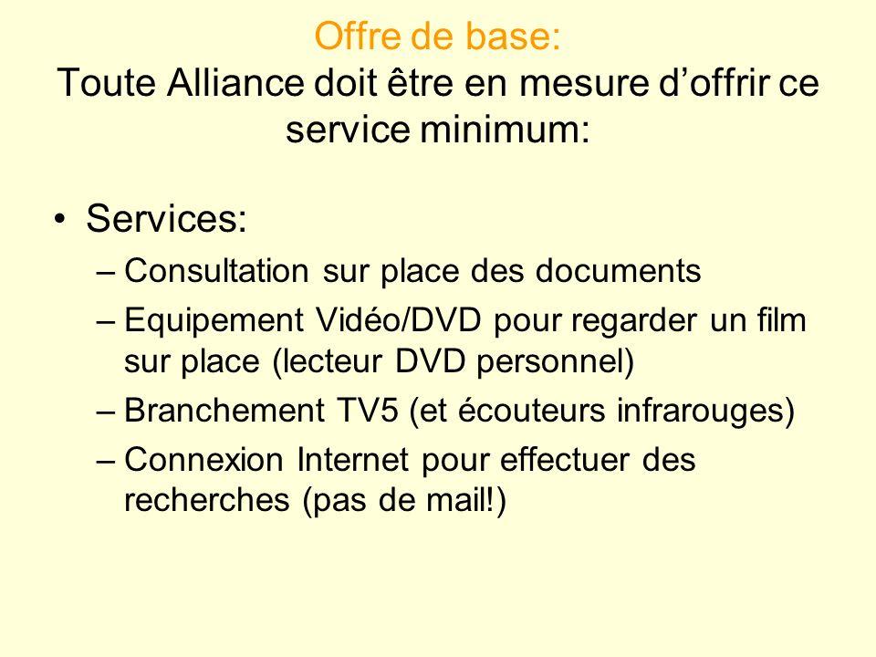 Offre de base: Toute Alliance doit être en mesure d'offrir ce service minimum: