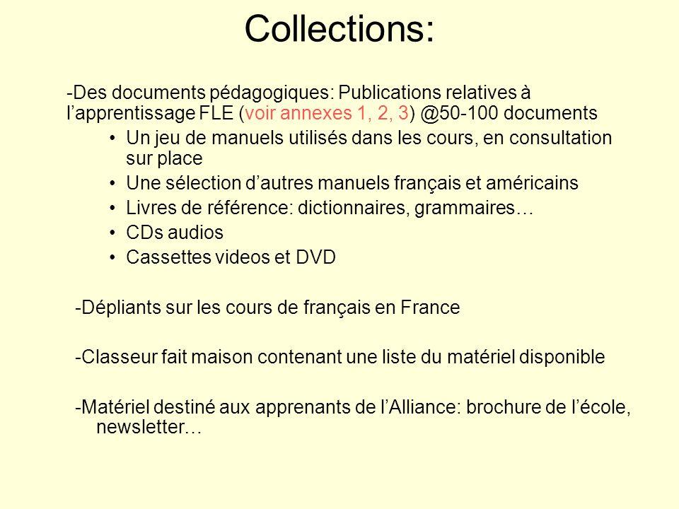Collections: -Des documents pédagogiques: Publications relatives à l'apprentissage FLE (voir annexes 1, 2, 3) @50-100 documents.